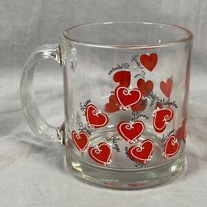 Valentine's Day Hearts Romance Love Kisses Hugs Glass Coffee Mug Cup Made USA