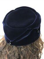 Vtg Women's Hat Dark Navy Blue Velvet Cloche Bucket Beaded Jester Dressy Small