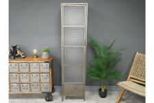Tall Frosted Glass Industrial Metal Cabinet Single Drawer Storage Furniture