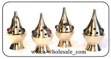 """Lot of 4 Assorted Brass & Stones Censer Incense Charcoal Cone Resin Burner (4"""")"""