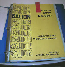 Galion VOS 2-66B VIBRATORY ROLLER PARTS MANUAL CATALOG BOOK LIST No 8207