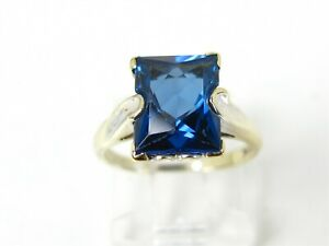 Vintage 10k Yellow Gold 3ct Blue Spinel Solitaire Ladies Ring 2.6g