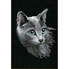 RIOLIS  764  COUNTED  CROSS STITCH  KIT - RUSSIAN BLUE CAT