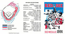 1991 BOSTON RED SOX POCKET BASEBALL SCHEDULE - UNFOLDED