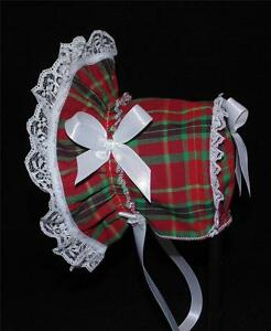New Handmade Red and Green Plaid Baby Christmas Bonnet