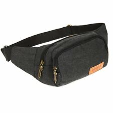 Men Sports Canvas Waist Pack Bum Belt Bag Purse Travel Hip Pouch Fanny Bag Black