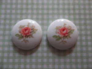 Vintage Pink Rose Cameos 18mm Round Glass Cabochon White Base Made in Japan 4pcs