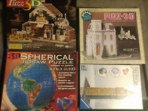 Lot of 4 COMPLETE 3-D Puzzles for Adults- Globe -Victorian- Big Ben -Coffee Shop