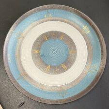 VINTAGE MCM SASCHA BRASTOFF Gold Teal Atomic Starburst Plate Dish SIGNED RARE!