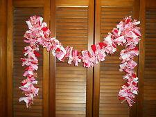 VALENTINE HEART RAG GARLAND, 6 feet, Hearts, Homespun, Country, Shabby
