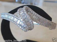 7.05 Cts Brilliant Baguette Bangle Diamond Bracelet Bridal 14ct White Gold Over