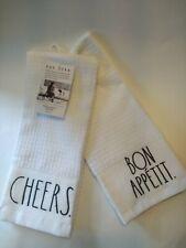"Rae Dunn Kit. (2) Towels CHEERS. BON APPETIT. Black Letters on White NEW 16""x26"""