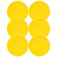 "Pyrex 7201-PC 6"" Meyer Lemon Yellow Round Plastic Lid for 4 Cup Glass Bowl 6PK"