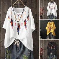 Mode Femme Coton Manche courte Crochet Loose Casual Hauts T-shirts Tops