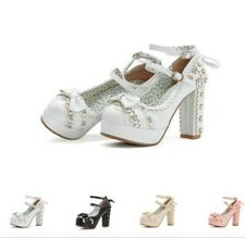 4 Colors Chic Women Buckle Strap Brogue Princess Cosplay Block High Heel Shoes L