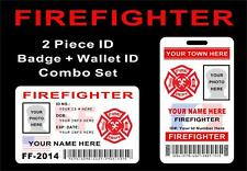 FIREFIGHTER (Paid or Vol.) ID Badge + Wallet ID Card Set - CUSTOM W/ Your INFO