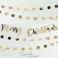 GOLD 'MERRY CHRISTMAS' BUNTING -Xmas Party Hanging Decoration / Garland / Banner