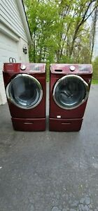 SAMSUNG - Red Electric WASHER( NEEDS WORK) and Gas DRYER Set with Pedestal's