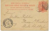 "2427 1895 QV 1 d VF postcard Duplex ""LONDON / 82"" NEW LATEST DATE OF USAGE"