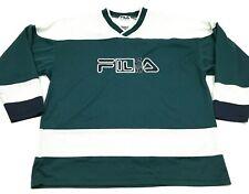 VINTAGE Fila Hockey Jersey Size Large L Green Shirt Long Sleeve Tee Adult 90's