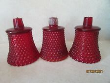 3 Ruby Red Hobnail Art Glass Candle Holder Votive Peg Cups Homco