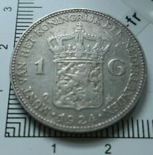 G01203 monnaie royale 1 gulden 1924 pays bas whilhelmina koningin argent
