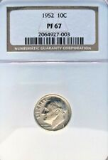 1952 ROOSEVELT DIME GRADED PF 67 BY NGC