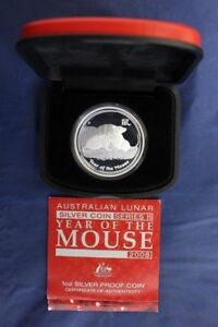 """2008 Australia 1oz Silver Proof """"Year of the Mouse"""" in Case with COA"""