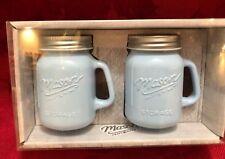 "Salt & Pepper Shaker Blue Milk Glass Mason Jar Handle Craft and More NIB 3 1/4"""