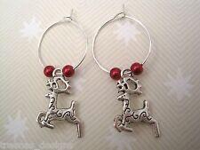 *XMAS LEAPING REINDEER* SP Hoop Earrings Red Glass Beads Gift Bag Tibetan Silver