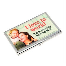 Credit Card Case Business Card Holder I Love To Work Gets Me Away From Kids New