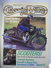 Classic Bike Magazine. No. 105. October, 1988. Scooters. Benelli-4 Racer test.