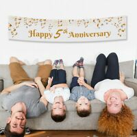 Personalised Happy 5 anniversary Gift Idea Canvas Party Banner Decorations