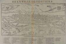 POITIERS POITOU VIENNE GRANDE GRAVURE SUR BOIS VUE BELLEFOREST MÜNSTER 1575 I89
