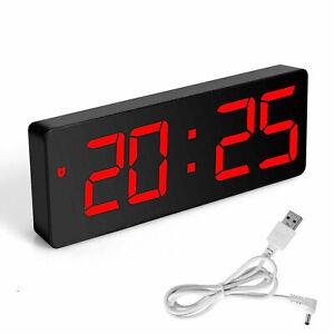 Desk Alarm Clock Digital LED Portable Modern USB/Battery Operated Mirror for US