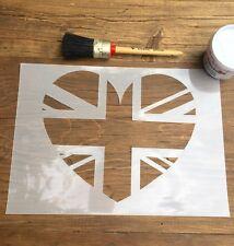 Union Jack Heart Stencil, Heart Stencil, Union Jack Art, British Flag Stencil,
