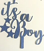 Cake Topper Baby Shower It's a Boy BLUE Glitter   FREE UK P&P