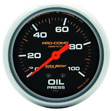 "Autometer Pro-Comp 2-5/8"" Liquid Filled Mechanical Oil Pressure Gauge 100 Psi"