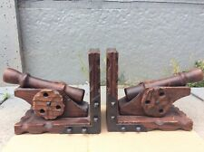 Vintage Spanish Wooden Cannon Book Ends