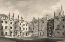Saint Mary Hall, Oxford, by John Le Keux. Oriel College 1837 old antique print