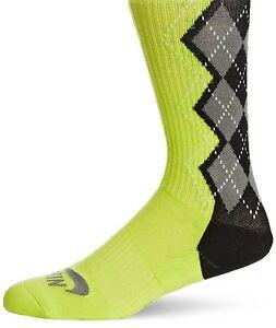 NIKE SB Dri-FIT Argyle Skate Crew Socks sz L Large (8-12) Venom Green Black Grey