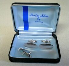 Tack Set in Box Etched - Stunning! New listing Signed Gentry Sterling Silver Cufflinks & Tie