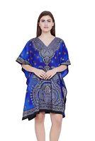 Tunic Top Blue Caftan Plus Size Blouse Kaftan Cover Up Cover Women Boho Dress