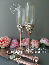 Swarovski Crystal Strass Bling Personalized Wedding Toast Champagne Flute Silver