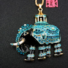 Betsey Johnson Enamel Pearl Blue Rhinestone Elephant Pendant Women's Necklace