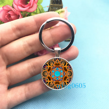 Mandala Art Photo Tibet Silver Key Ring Glass Cabochon Keychains -301