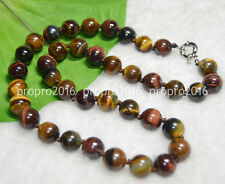 20'' Natural 10MM Multicolor Tiger's Eye Gems Stone Round Beads Necklace PN780