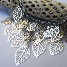The Enchanted Forest Statement Necklace With Cascading Silver Filigree Leaves