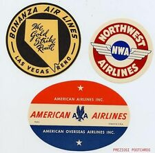 3 Labels - BONANZA AIRLINES, American Overseas Airlines, NORTHWEST AIRLINES