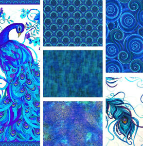 TIMELESS TREASURES,MOSAIC PLUME,F/Q,COTTON CRAFT FABRIC, PEACOCK COLOURS + PANEL